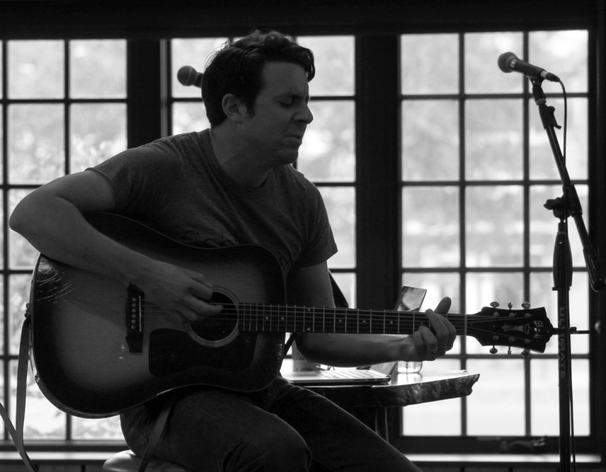 """Joe Pug leading the workshop, """"How to Steal like a Professional Songwriter"""